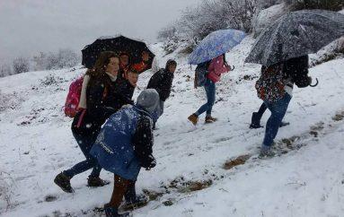 Kukësi mbulohet me borë, mësuesi ngjit kodrat bashkë me nxënësit për në shkollë