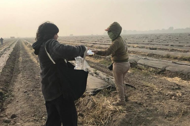 Mësuesjashpërndan maska në zona rurale, për të shpëtuar punëtorët e fermave nga rreziku