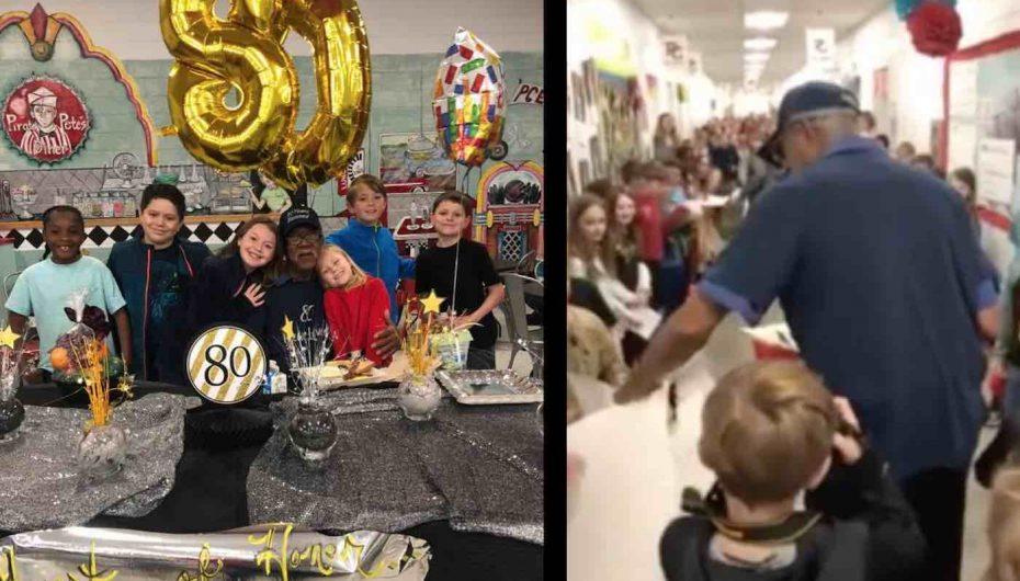 Nxënësit e shkollës fillore surprizojnë kujdestarin e tyre në ditëlindjen e 80-të