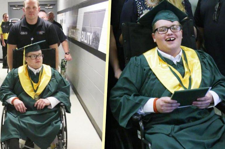 Adoleshenti i sëmurë, shkon në ceremoninë e diplomimit me ndihmën e spitalit