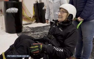 92-vjeçari përmbush ëndrrën e djalërisë, shkon për herë të parë për ski